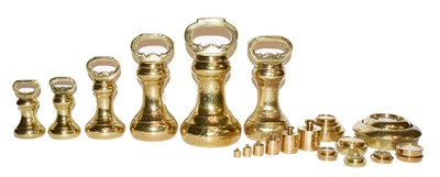 Lot 3 - A quantity of assorted brass weights including...