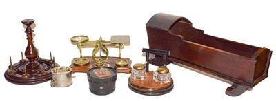 Lot 44 - Dolls cradle, set of brass mounted postal...