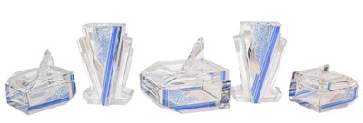 Lot 49 - A part Art Deco cut glass and blue stained...