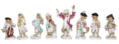 Lot 7 - A Volkstedt eight piece monkey band after Meissen