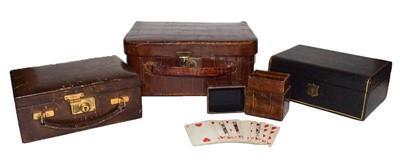 Lot 62 - A miniature suitcase jewellery box, a...