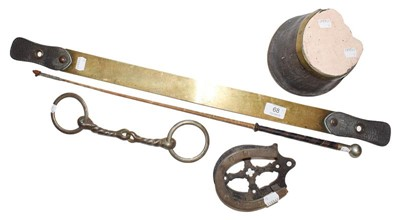 Lot 68 - A 19th century brass and leather horse sweat...