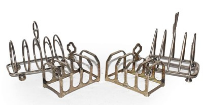 Lot 77 - A Pair of George V Silver Toastracks and Two...