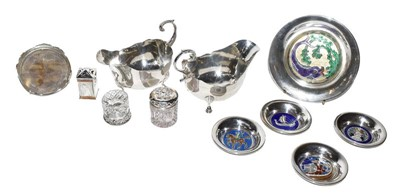 Lot 80 - A tray of silver items including a pair of...