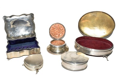 Lot 81 - Five various silver jewellery boxes, variously...