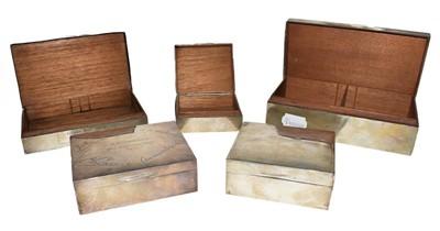 Lot 83 - Five various silver cigarette-cases, each wood...