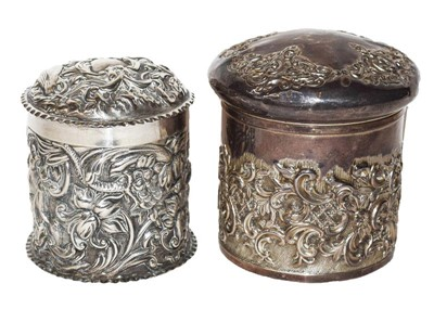 Lot 93 - Two Victorian Silver Dressing-Table Jars, One...