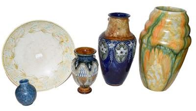 Lot 32 - Two Doulton Lambeth vases, a Royal Lancastrian...