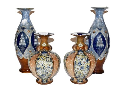 Lot 33 - Pair of blue glaze Royal Doulton vases and a...