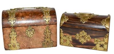 Lot 13 - A Victorian brass bound walnut domed top...