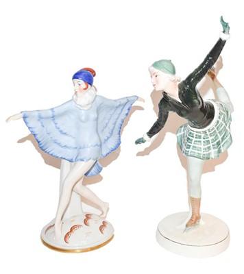Lot 48 - Katzhutte figure of a deco dancer in blue...