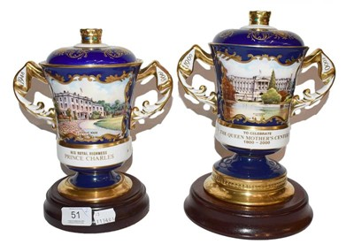 Lot 51 - Two Aynsley twin handled cups and covers, one...