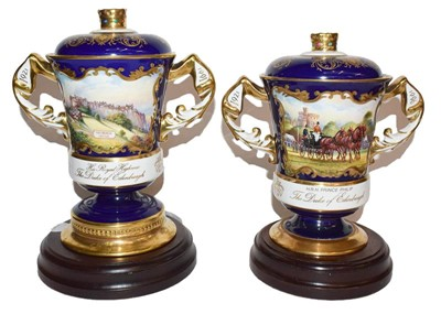 Lot 53 - Two Aynsley twin handled cups and covers, one...