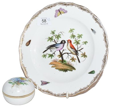 Lot 58 - A Meissen plate (second) and a Meissen dish...