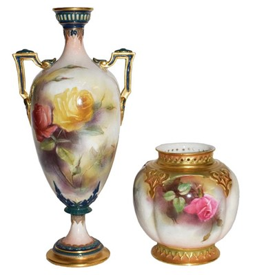 Lot 60 - A Royal Worcester Hadley ware vase and a Royal...