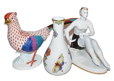 Lot 63 - A Herend porcelain bird, a Herand porcelain...