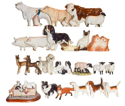 Lot 26 - Beswick animals including: 'Polled Hereford...