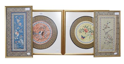 Lot 1064 - Four framed Chinese silk panels
