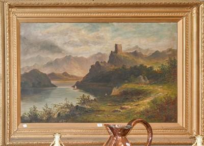 Lot 1001 - J Ellis (19th/20th century) A Lochside castle...