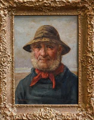 Lot 1011 - David W Haddon (fl. 1884-1914) Fisherman, head...