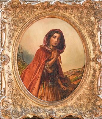 Lot 1024 - S Baldwin (19th century) Girl in cloak, oil on...