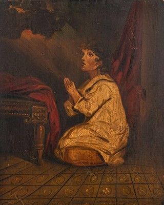Lot 1027 - After Thomas Lawrence, child praying, oil on...