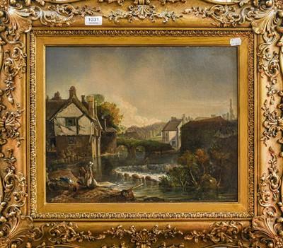 Lot 1031 - European school (19th century) Washer women on...