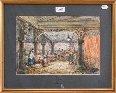 Lot 1033 - L.J. Rayner, Dover Market, watercolour, 24cm...