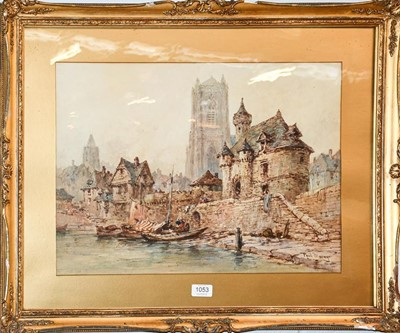 Lot 1053 - Paul Marney (1829-1914) Continental town view...