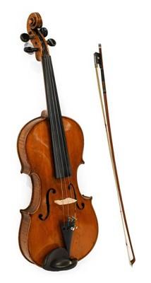 "Lot 3027 - Violin 14"" two piece back, no label, ebony..."