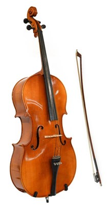 "Lot 3002A - Cello 29 1/2"" two piece back, ebony fittings,..."