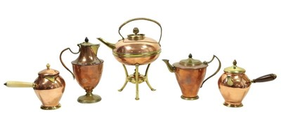 Lot 2063 - An Arts & Crafts Brass and Copper Kettle on...