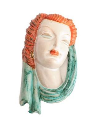 Lot 2046 - An Art Deco Goldscheider Pottery Wall Mask,...