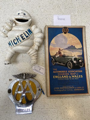 Lot 1 - Michelin cast metal money box, AA badge and...