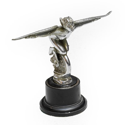 Lot 59 - A 1920s Chrome Plated Car Mascot, as a winged...