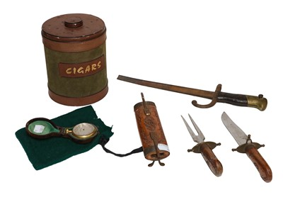 Lot 33 - A Leather cigar box, a 19th century...
