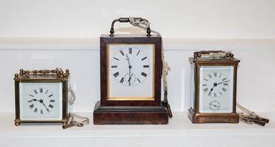 Lot 36 - A VAP alarm carriage timepiece, brass alarm...