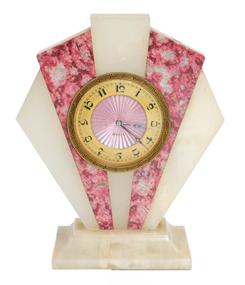 Lot 54 - An Art Deco onyx and marble eight-day timepiece