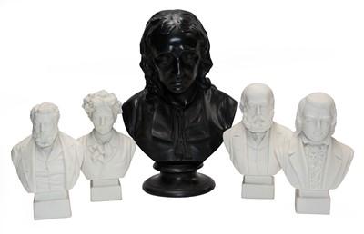 Lot 6 - A Wedgwood black basalt bust of John Milton,...