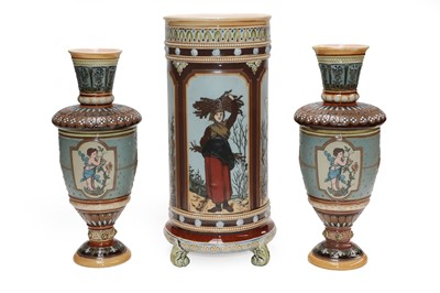 Lot 5 - A Mettlach cylindrical vase with sprigged...