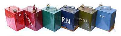 Lot 80 - Six Vintage 2-Gallon Fuel Cans, repainted, to...