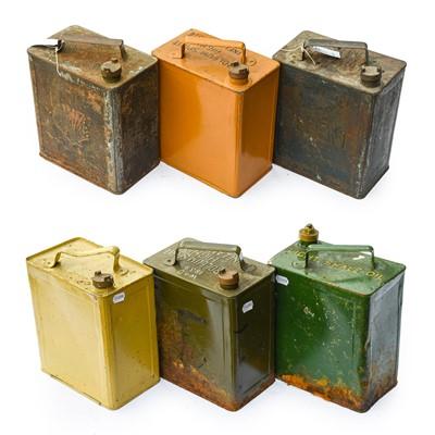 Lot 81 - Six Vintage 2-Gallon Fuel Cans, including four...