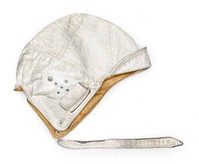 Lot 63 - A Vintage White Leather Driver's Helmet, with...