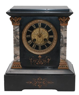 Lot 16 - A Victorian black slate and marble striking...