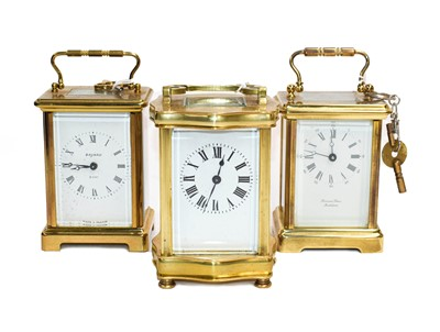 Lot 59 - A brass carriage timepiece, circa 1900 and two...