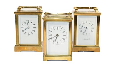 Lot 80 - Two brass carriage timepieces, circa 1900 and...