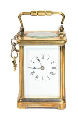 Lot 76 - A brass striking carriage clock, circa 1900