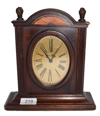 Lot 56 - A mahogany inlaid desk timepiece, signed...
