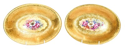Lot 51 - A pair of oval Royal Worcester dishes painted...
