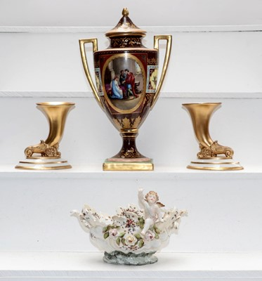 Lot 14 - A Vienna twin-handled vase painted with...